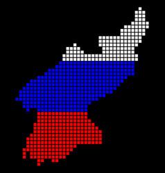 russia colors dot north korea map vector image
