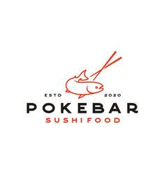 salmon poke bar logo design inspiration vector image