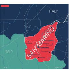 san marino country detailed editable map vector image