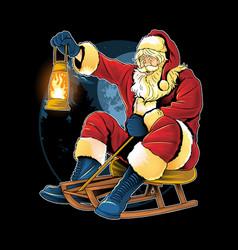 Santa claus christmas skating on snow vector