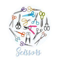 scissors icons in circle on white vector image