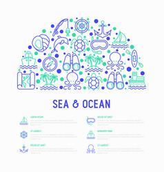 Sea and ocean journey concept in half circle vector