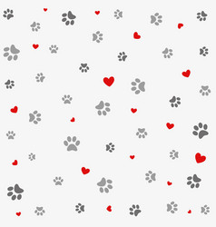 seamless background with heart and footprint paws vector image