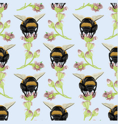 Seamless pattern with bumblebees on flowers vector