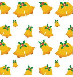 seamless pattern with jingle bells christmas with vector image