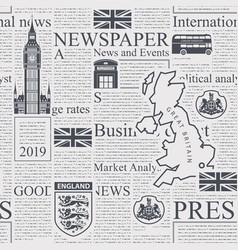 Seamless pattern with unreadable london newspaper vector