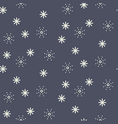 Seamless snowflake pattern in dark blue vector