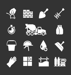 Set icons of cement and concrete vector image