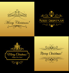 Set marry christmas and happy new year cards vector