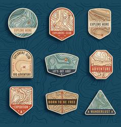 Set nine topographic map travel emblems vector