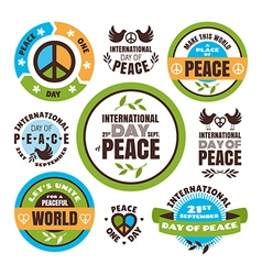 Set of labels for the International Day of Peace vector image