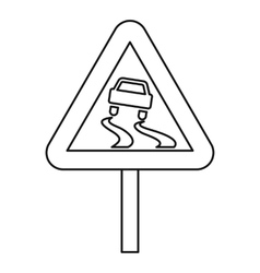 Slippery road icon outline style vector