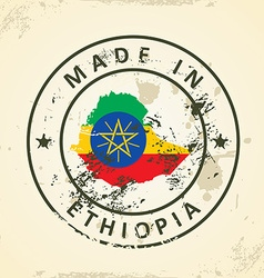 Stamp with map flag of Ethiopia vector