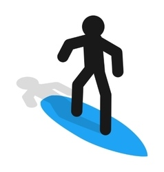 Surfer icon in isometric 3d style vector image