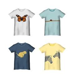 T Shirt Template with different prints variation 2 vector