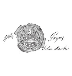 The seal and signature of william tryon vintage vector