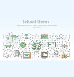 thin line art school poster banner template vector image