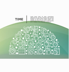 time concept in half circle with thin line icons vector image