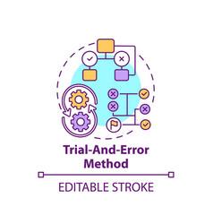 Trial and error method concept icon vector