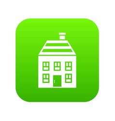 two-storey house with chimney icon digital green vector image