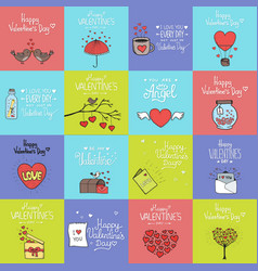 valentines day set - emblems and cards vector image