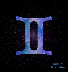 Watercolor sign of the zodiac gemini on star space vector