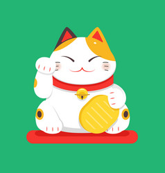 white maneki neko raised right paw flat vector image