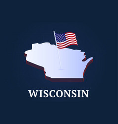 wisconsin state isometric map and usa national vector image