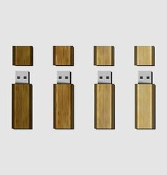 Wood USB flash drive vector