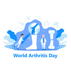 World arthritis day in october tiny doctors treat vector