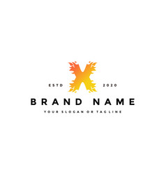 X letter logo fire design vector