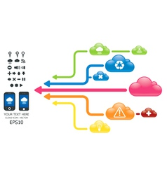 cloud color arrow graph with mobile vector image vector image