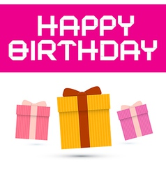 Happy Birthday with Paper Gift Boxes vector image vector image