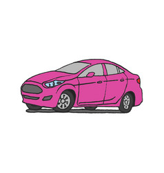 pink car doodle vector image vector image