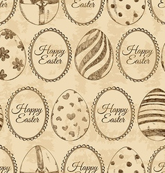 Seamless pattern of sketch Easter eggs vector image vector image