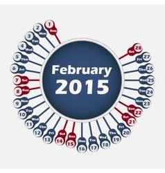 calendar 2015 February template vector image vector image