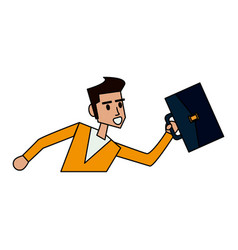 color image cartoon half body man running with a vector image