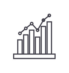histogram line icon sign on vector image vector image