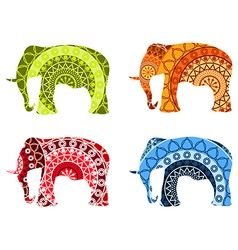 Indian elephant tibetan mandala pattern vector