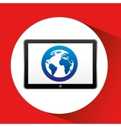 tablet technology icon globe communication vector image vector image