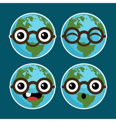 Cartoon Planet Earths with Eyeglasses vector image vector image