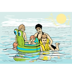 Family at sea vector image vector image
