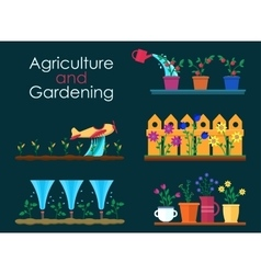 flat banners for garden work and gardening vector image vector image