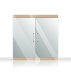 Glass door with chrome silver handles set vector image vector image