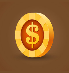 gold coin of dollar isolated on dark background vector image