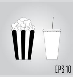 popcorn and soda icon vector image vector image