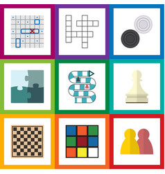 flat icon play set of cube sea fight jigsaw and vector image vector image