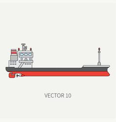 Line flat color icon container cargo ship vector
