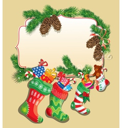 New Year card with family Christmas stockings vector image