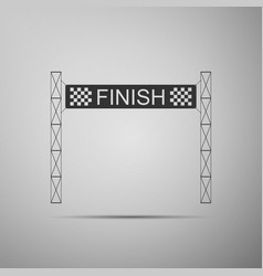 ribbon in finishing line icon on grey background vector image